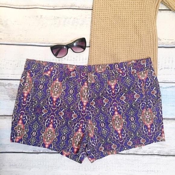 8813a7419714b JC PENNY Plus Size Purple Paisley Print Shorts